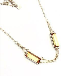 BANANA REPUBLIC gold tone & yellow glass necklace